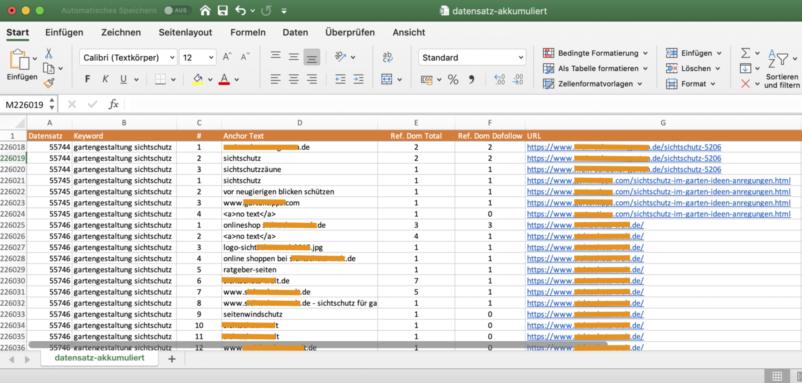 Bildschirmfoto csv export